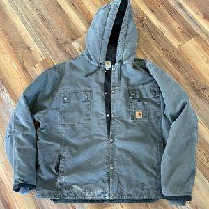 Carhartt Men's Sherpa Sandstone Hooded Jacket J284